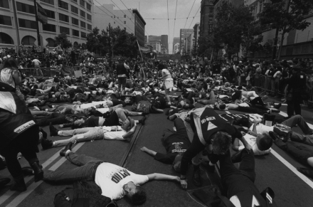 """""""Die-in"""" during the 6th Annual AIDS Conference in San Francisco. June 17-24, 1990."""